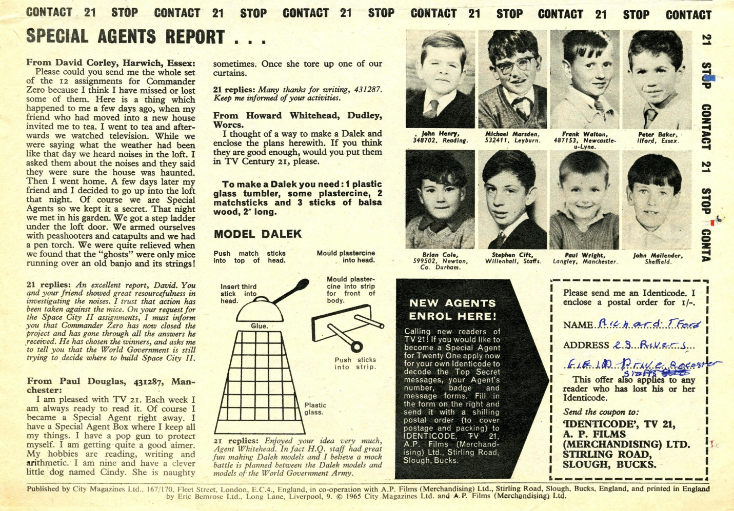 TV Century 21 #17 with instructions on building a model Dalek
