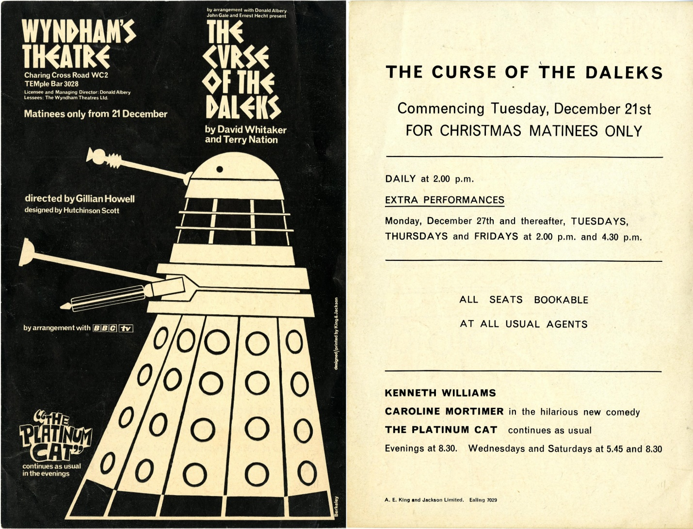 Curse of the Daleks handbill (front and back)