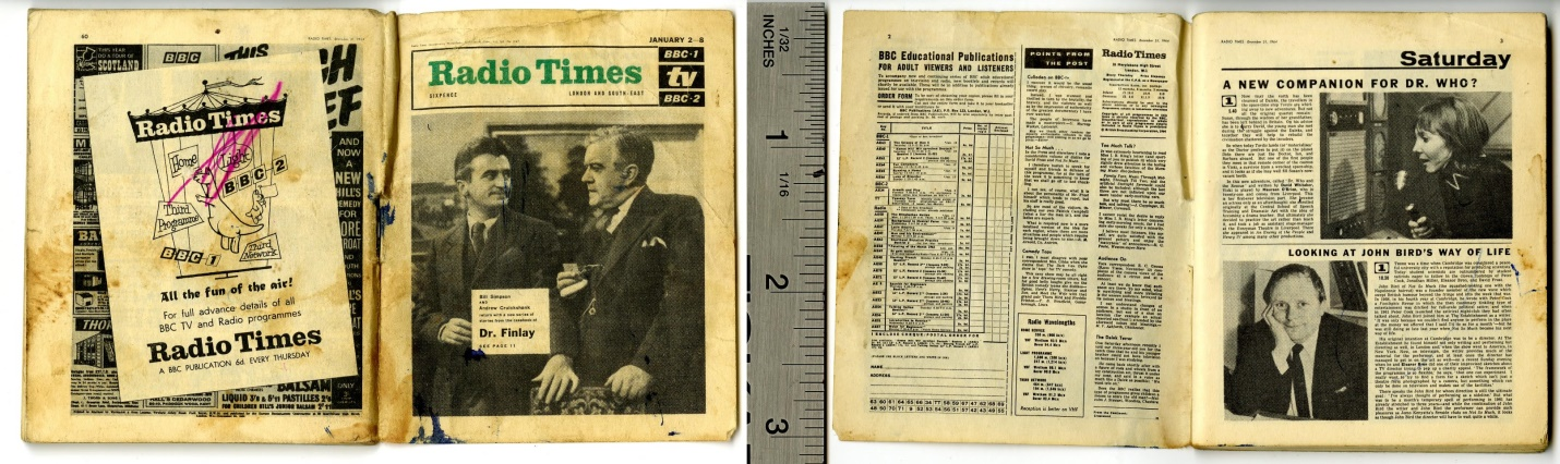 Miniature Radio Times, January 2-8, 1965 (featuring article about Maureen O'Brien as Vicki)