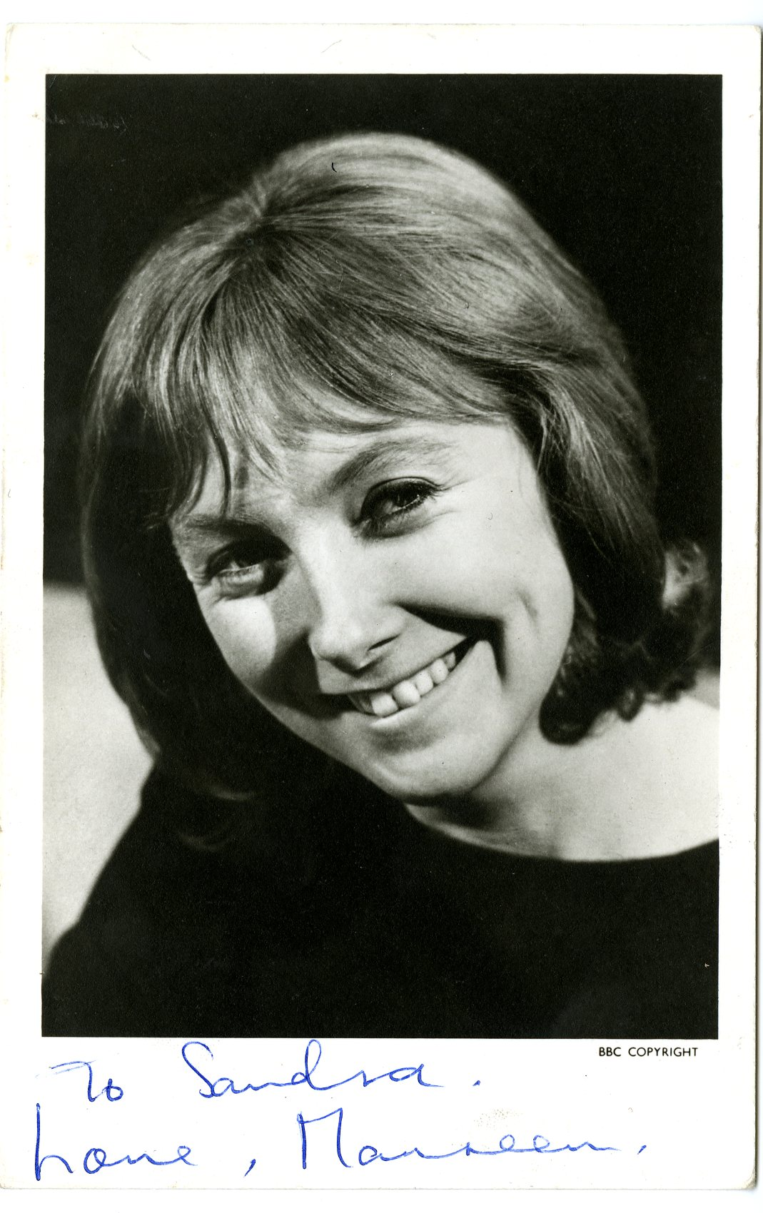 Maureen O'Brien as Vicki, BBC Television promotional cast card