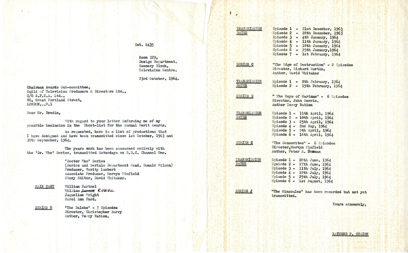 Letter from Raymond Cusick with nomination for an Internal Merit Award, dated October 23, 1964 (from the Raymond Cusick personal collection)