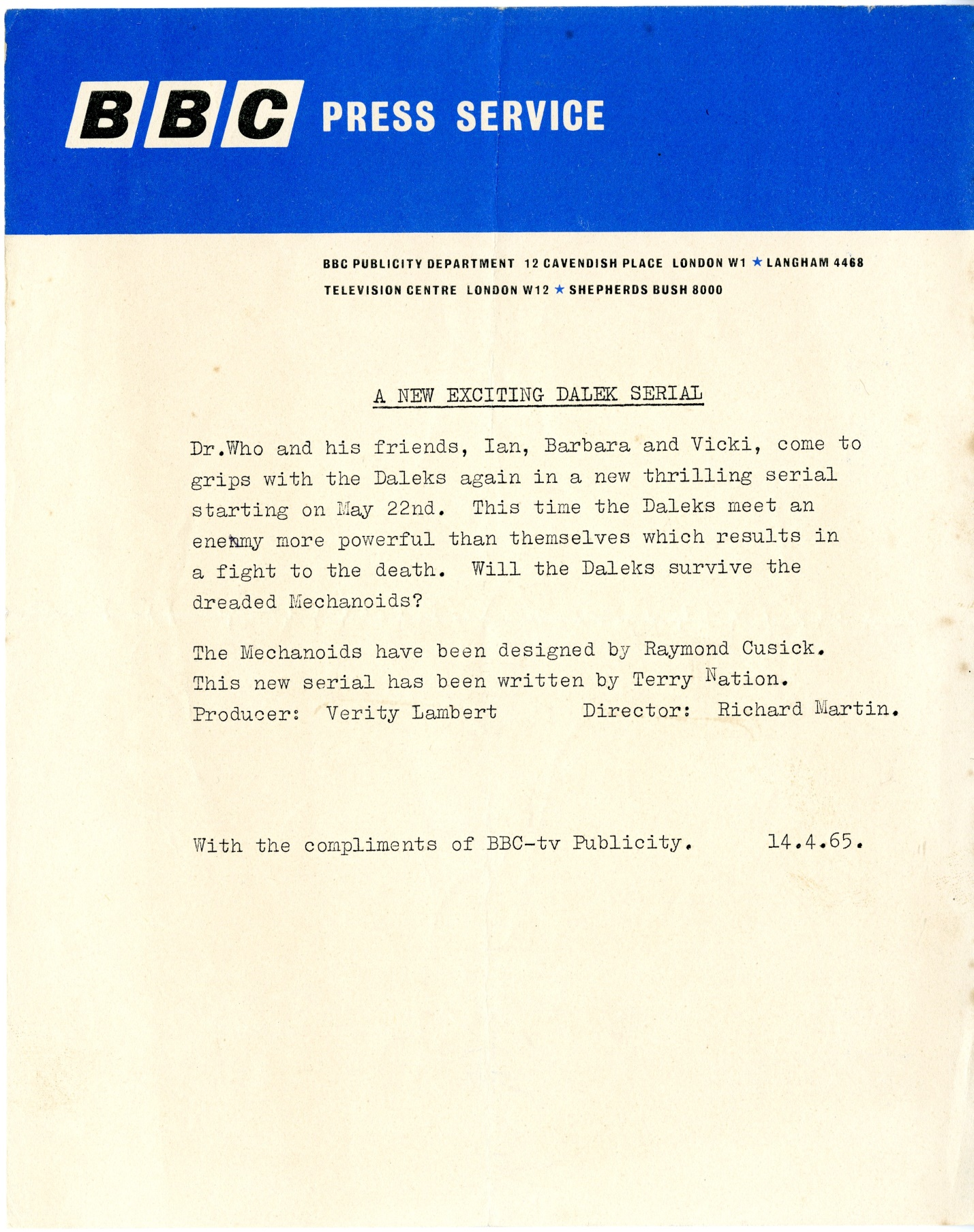 BBC TV Publicity Department press release for The Chase, April 14, 1965