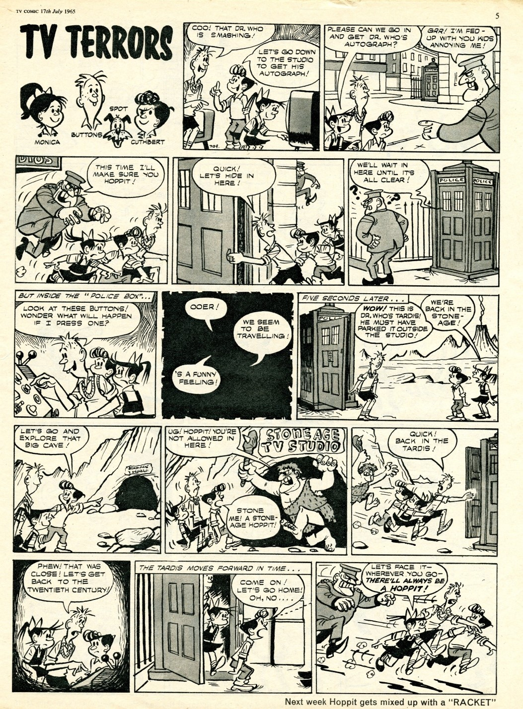 TV Comic #709, July 17, 1965; the TARDIS features in the TV Terrors strip