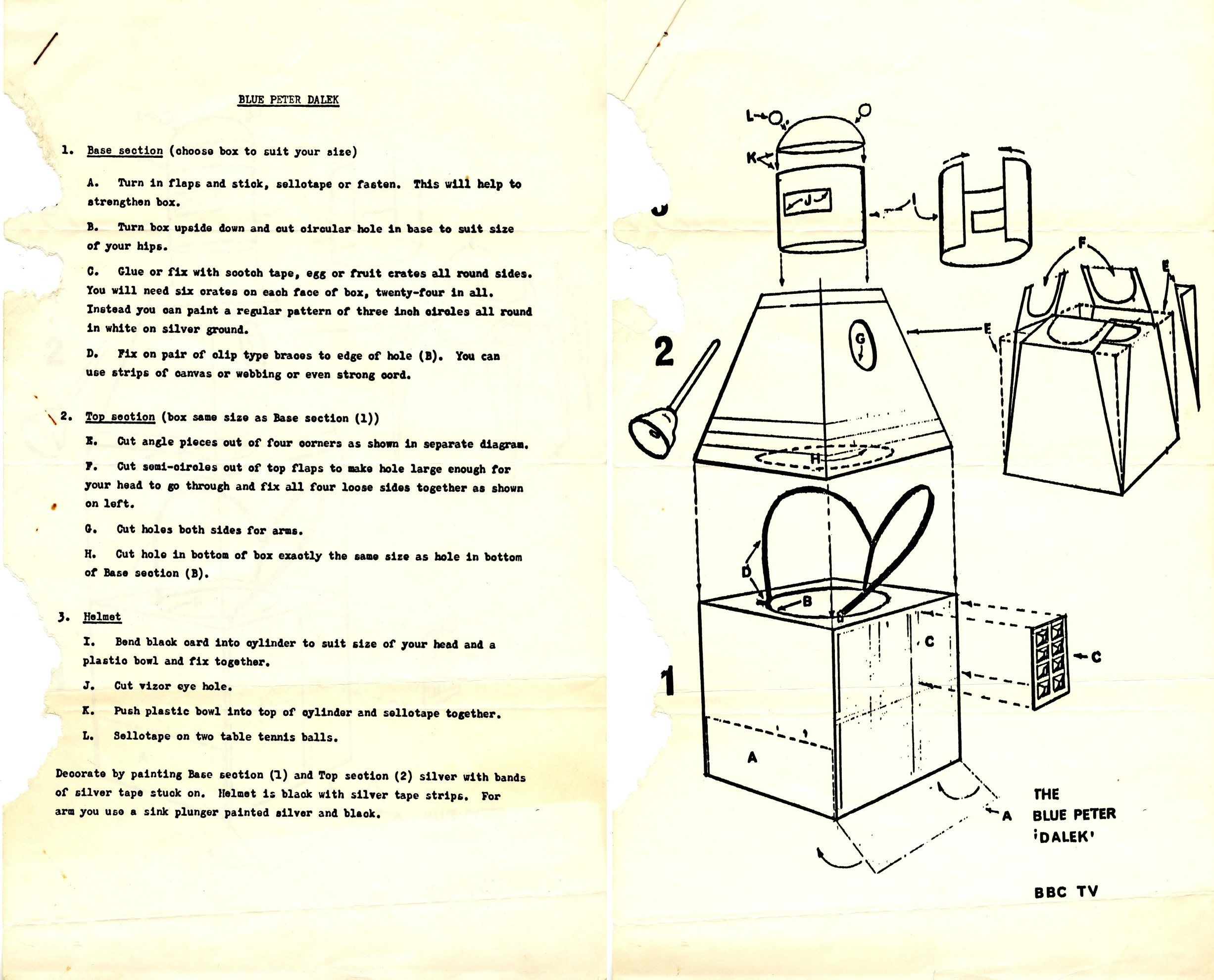 Blue Peter Make a Dalek instructions available from the Doctor Who Production Office