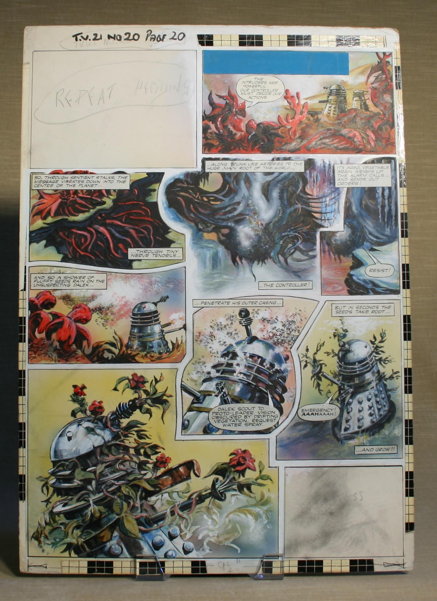 Original Dalek strip artwork, TV Century 21 #20