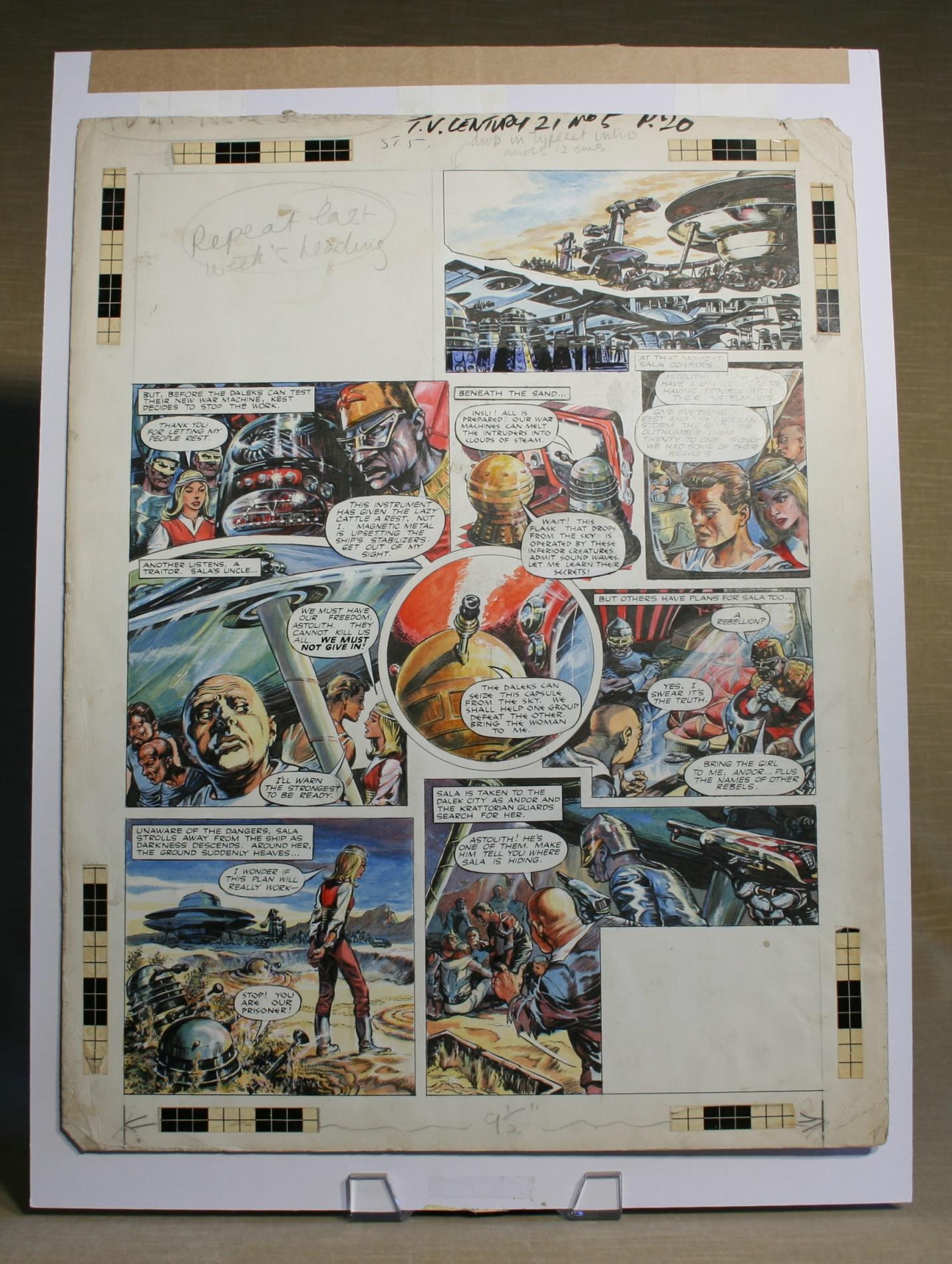 Original Dalek strip artwork from TV Century 21 #5