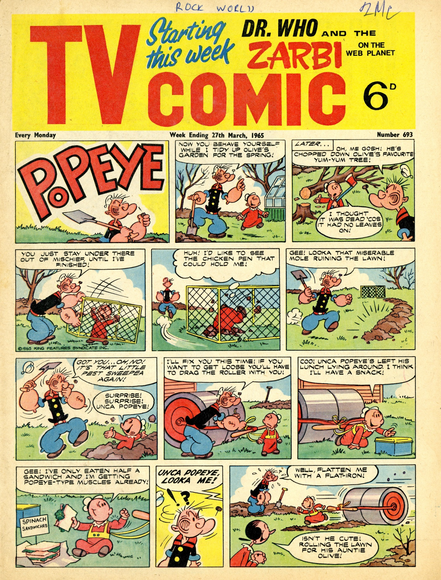 TV Comic #693, March 27, 1965 with cover introducing the Zarbi