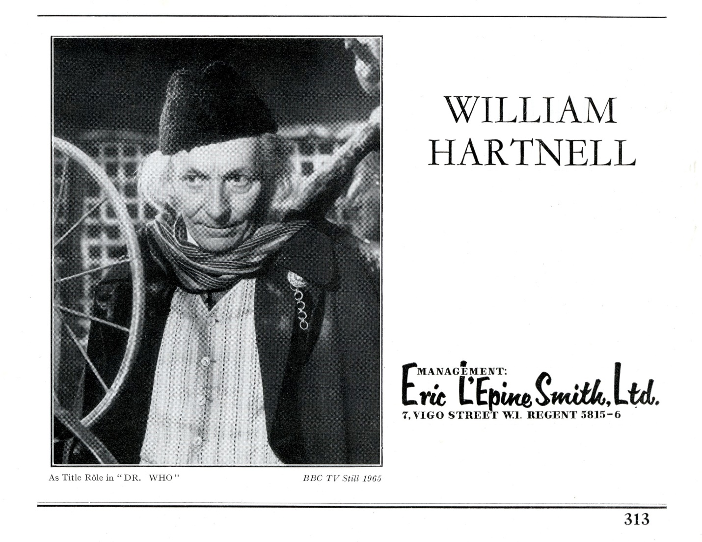 William Hartnell's entry in The Spotlight, 1965