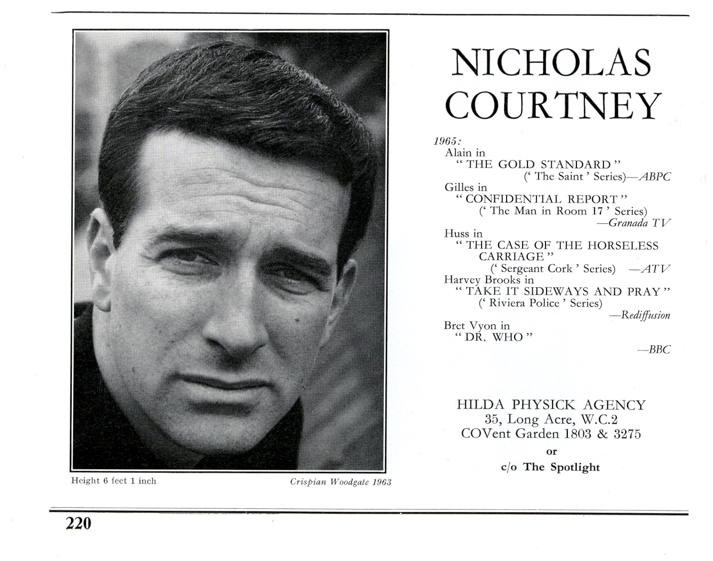 Nicholas Courtney's entry in The Spotlight, c. 1965, referencing his role as Bret Vyon in The Daleks' Master Plan