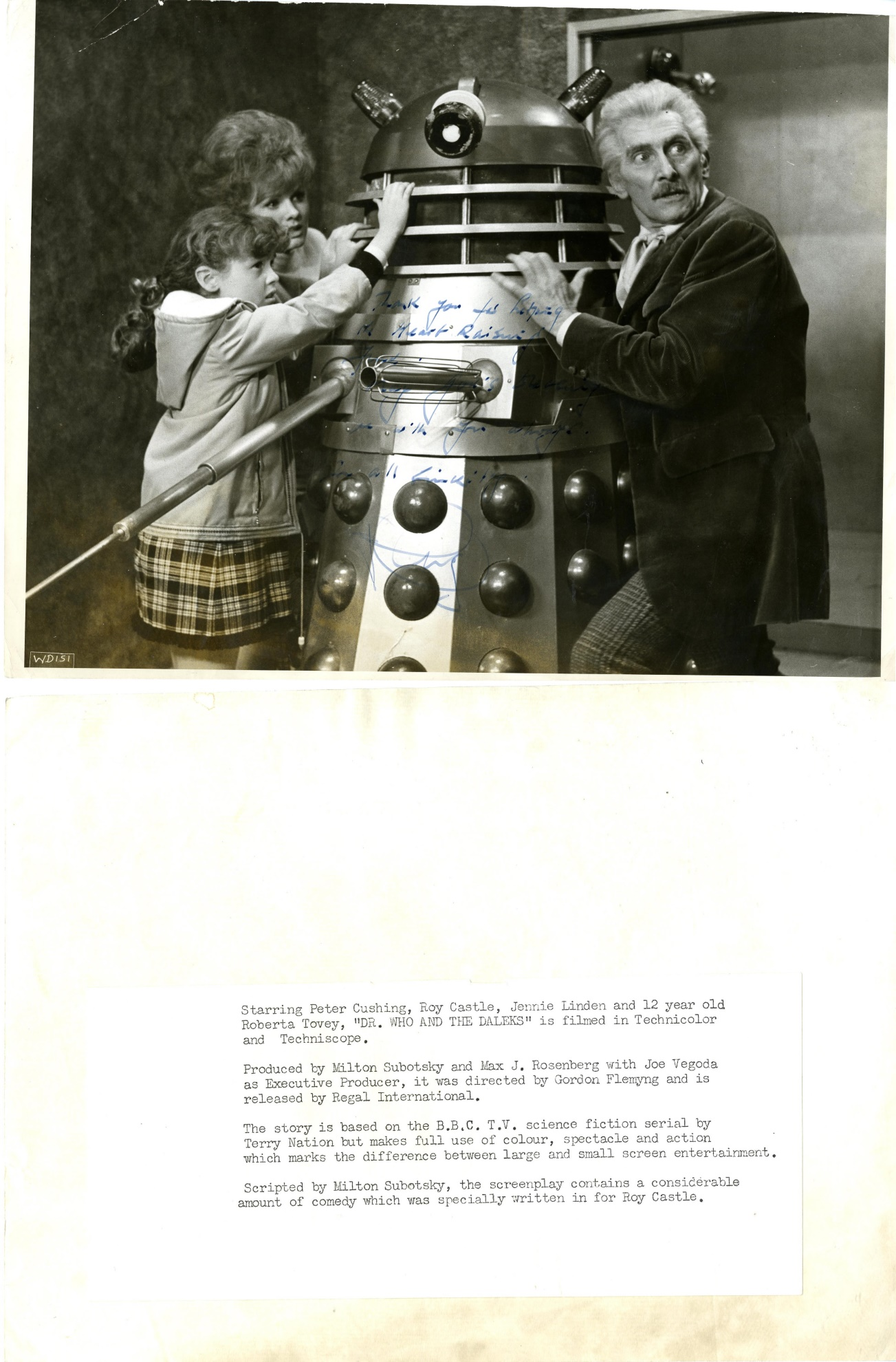 Promotional photo signed by Peter Cushing
