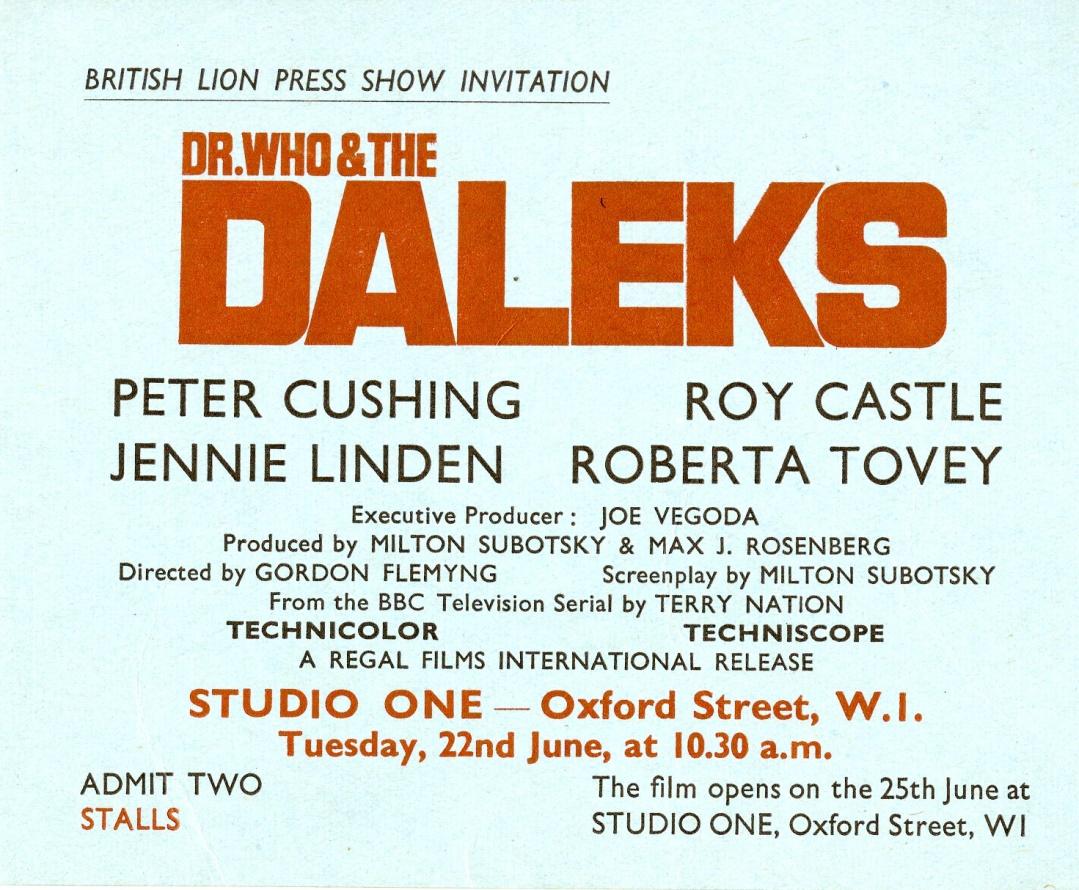 British Lion Press Show Invitation, 22 June 1965