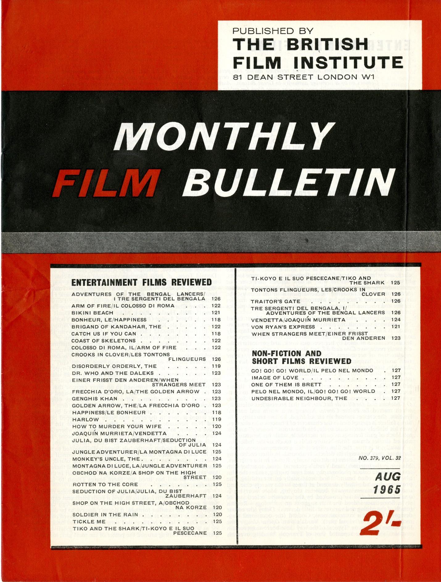 British Film Institute Monthly Film Bulletin, August 1965