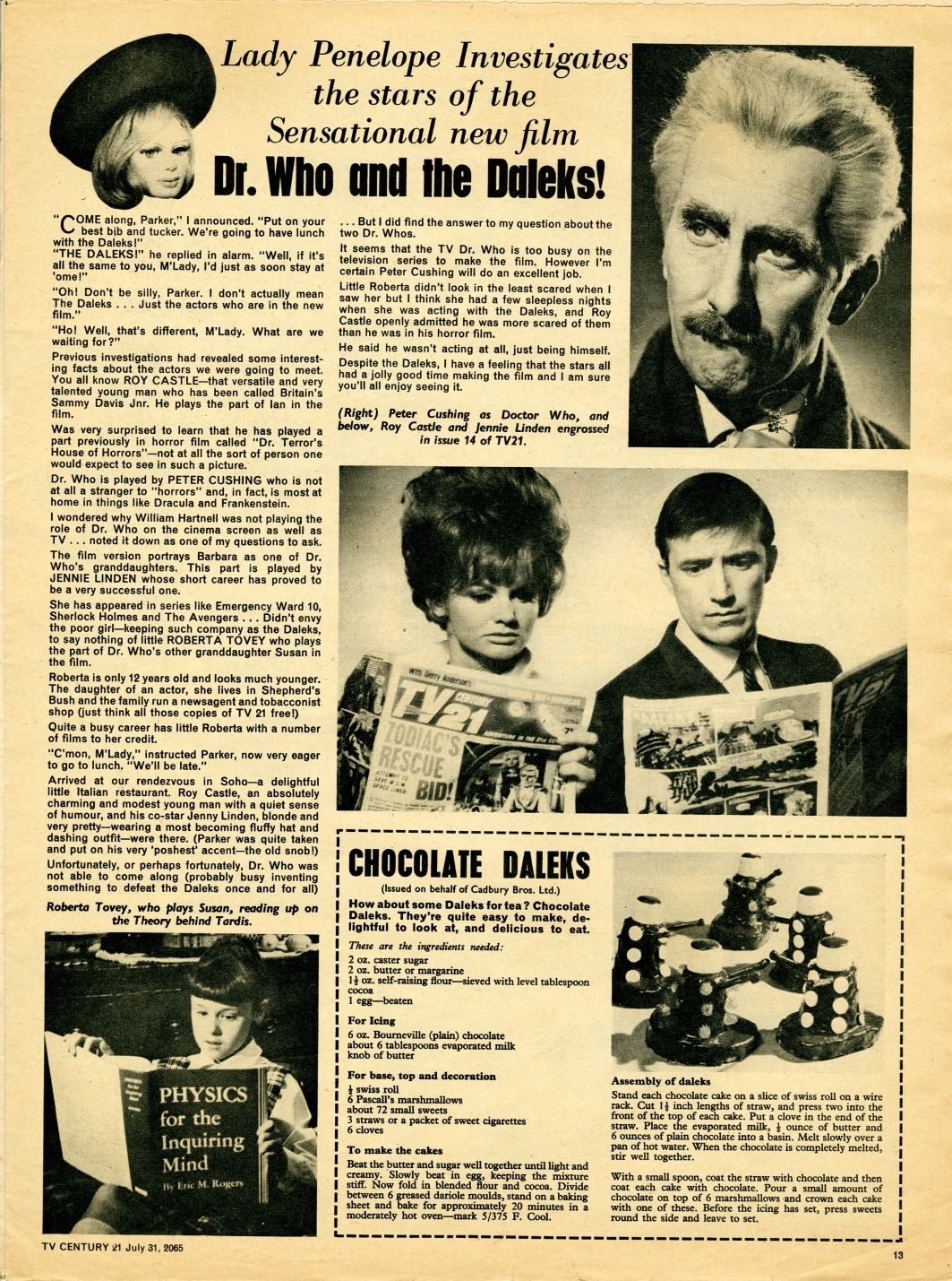 TV Century 21 no. 28, Lady Penelope Investigates the Stars of the Film, 31 July 2065 (1965)