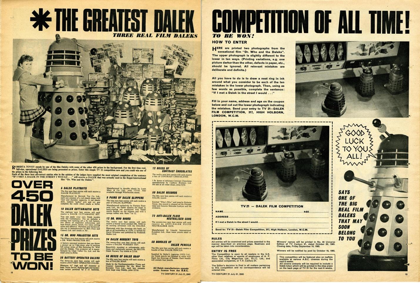 TV Century 21 no. 28, Dalek Competition, 31 July 2065 (1965)