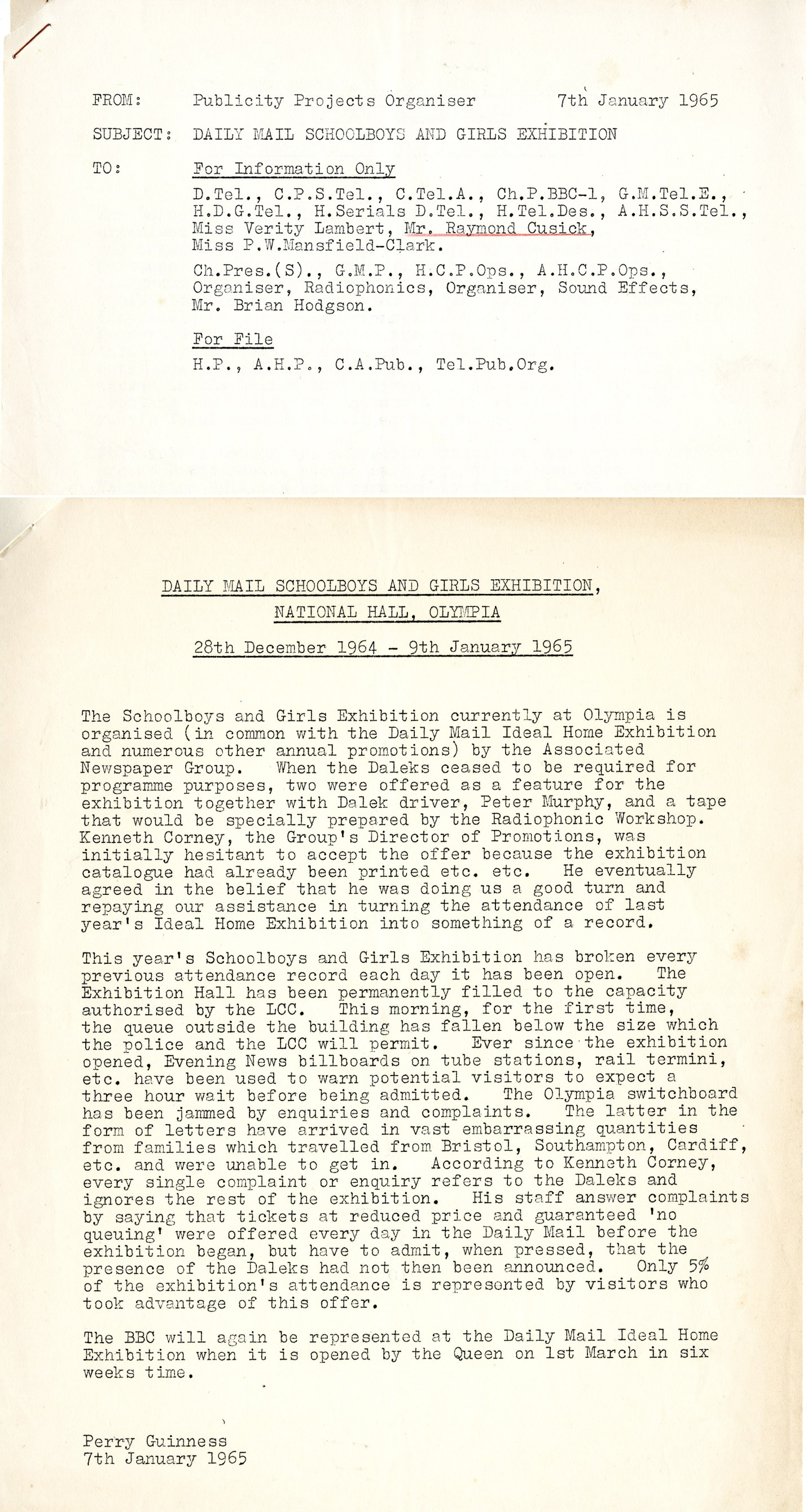 Memo from the BBC Publicity Projects Organizer dated January 7, 1965 regarding the use of Daleks at the Daily Mail Schoolboys and Girls Exhibition (from the Raymond Cusick archive)