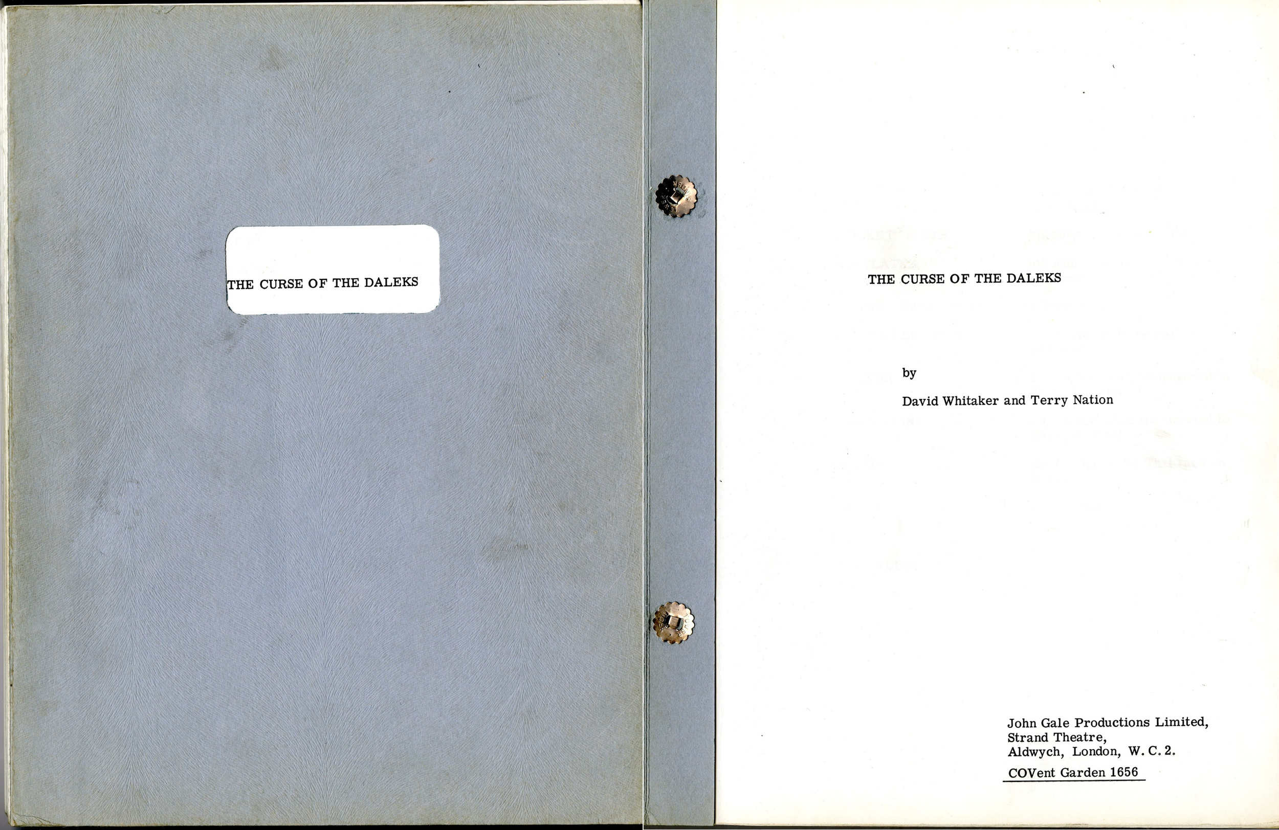 The Curse of the Daleks script (cover and title page)