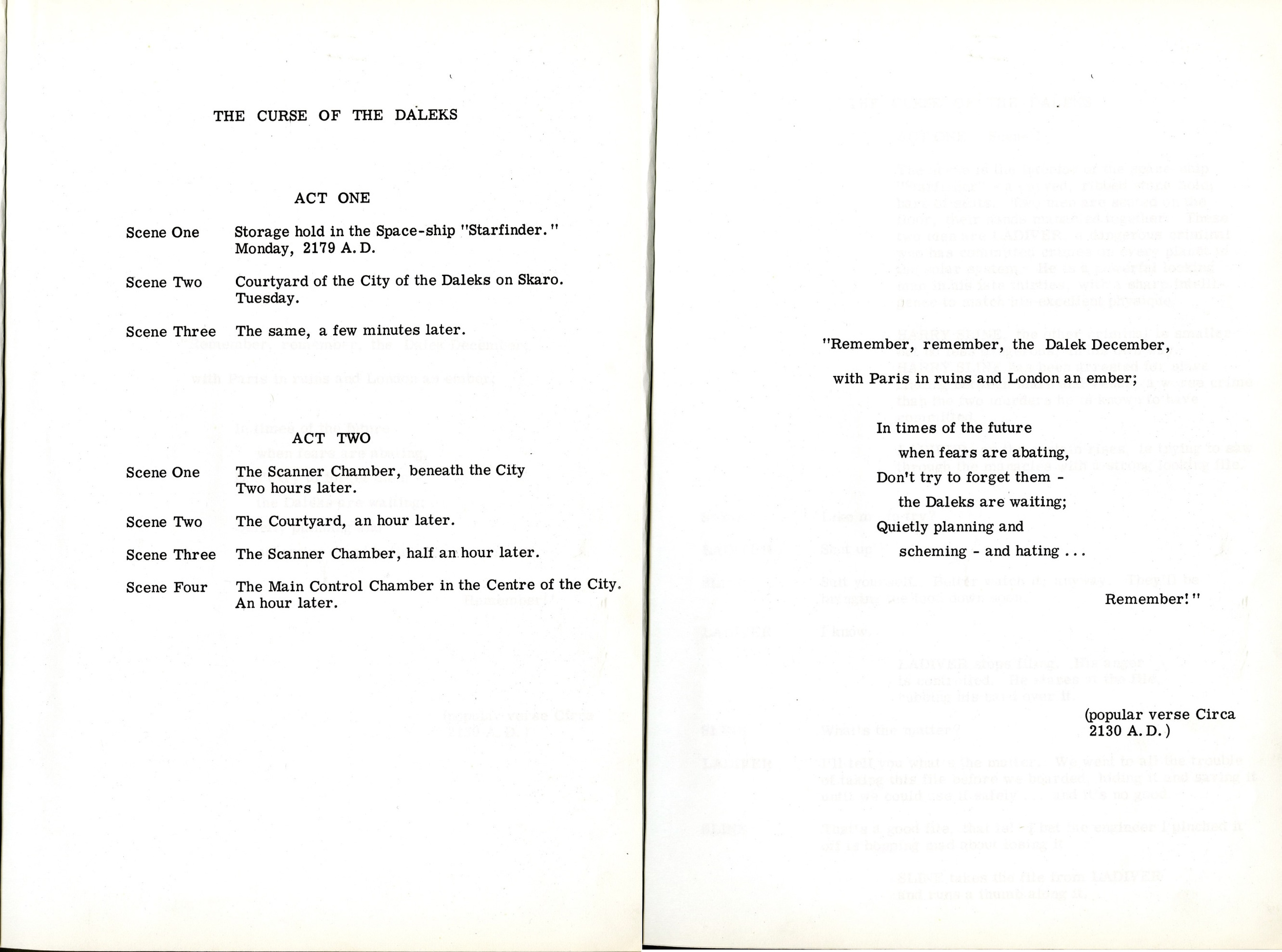 The Curse of the Daleks script (interior pages)