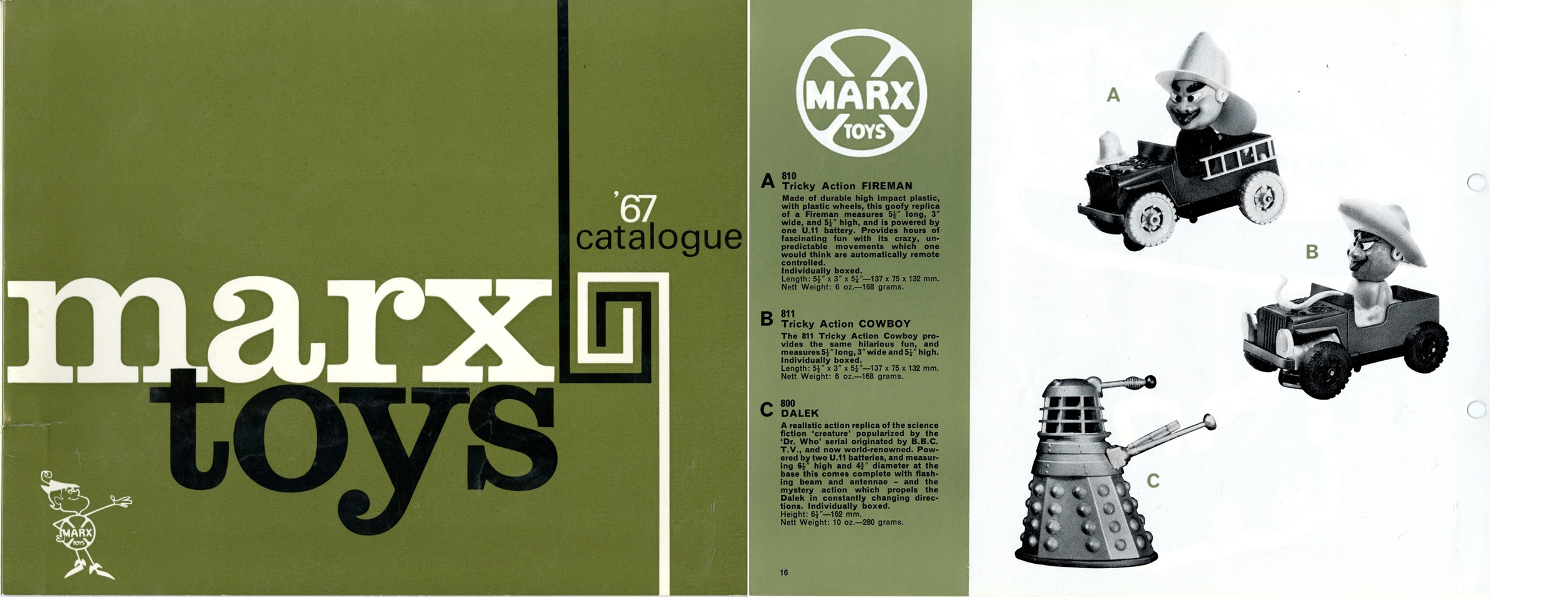 Louis Marx and Company Ltd. 1967 catalogue showing a battery-operated Dalek