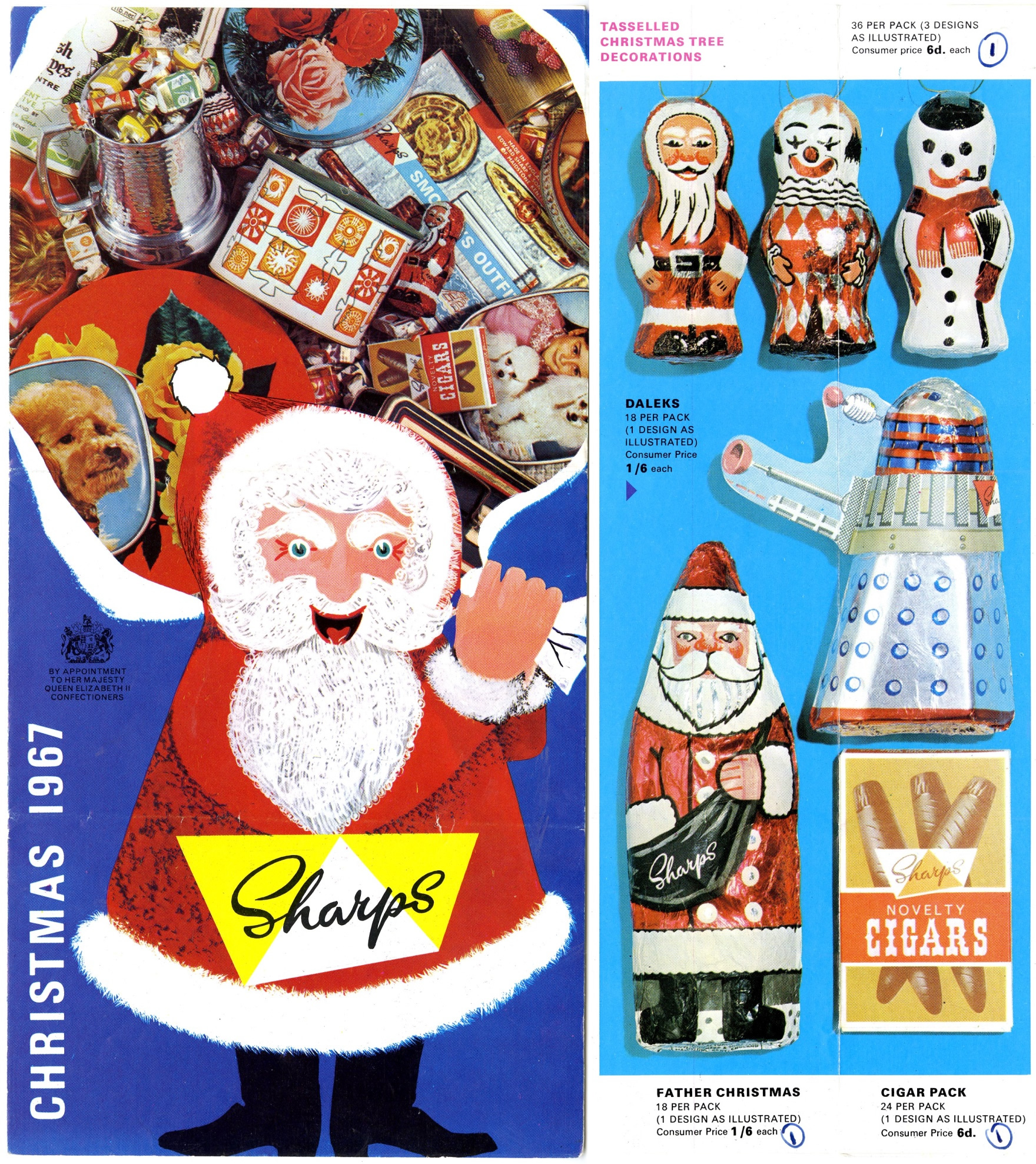 Edward Sharp and Sons Ltd. Christmas 1967 catalogue featuring a foil-wrapped chocolate Dalek novelty