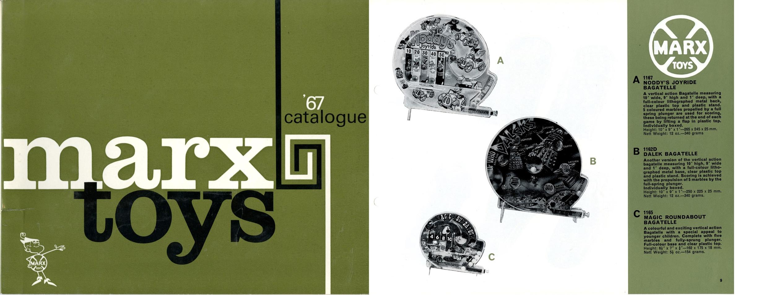 Louis Marx and Company Ltd. 1967 Catalogue including vertical Dalek Bagatelle