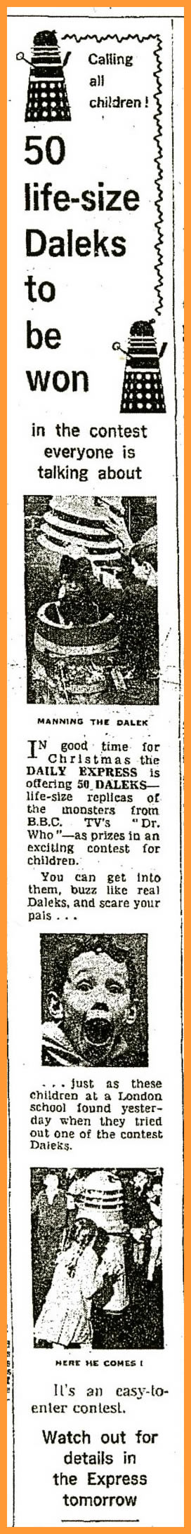 WANTED - Daily Express, 10 December 1964 with a Name a Dalek competition article