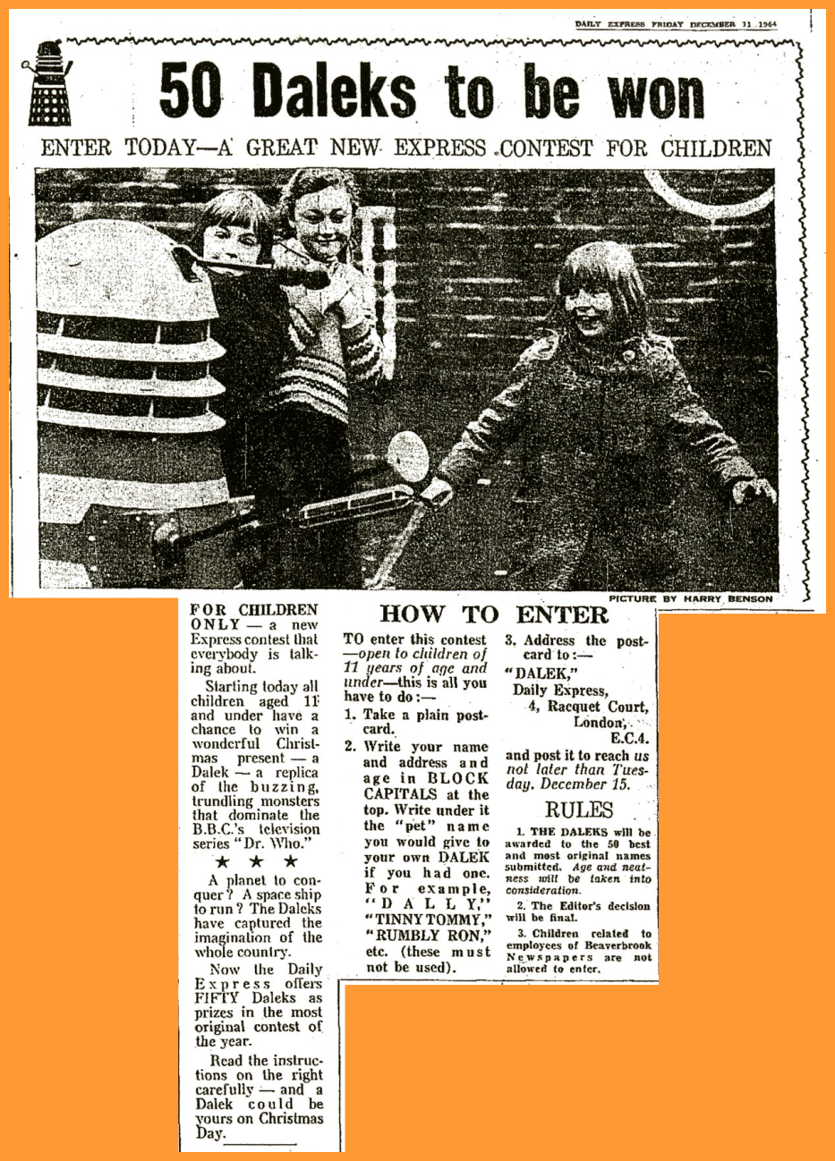 WANTED - Daily Express, 11 December 1964 with a Win a Dalek competition article