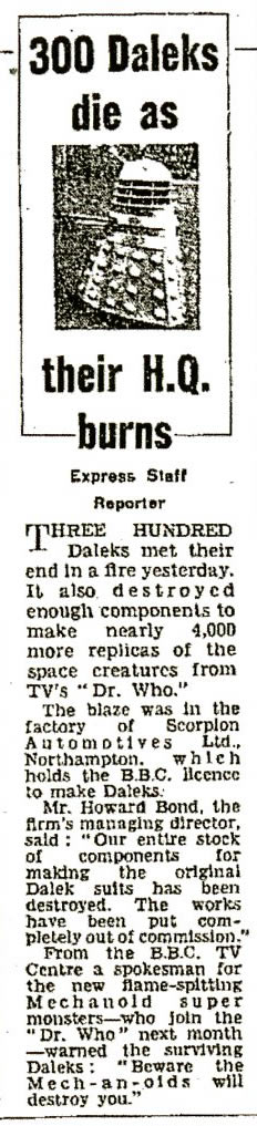 Daily Express, 17 April 1965. Copy of article regarding the fire at the Scorpion Automotives factory