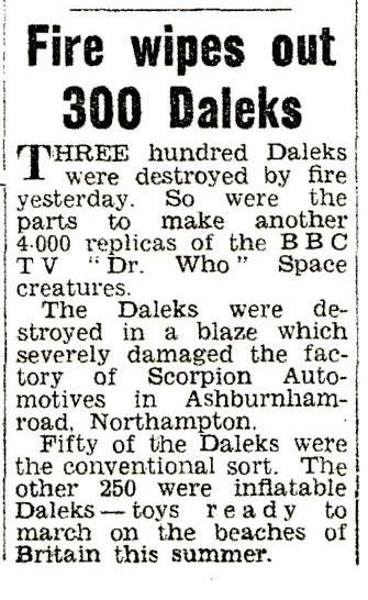 Daily Mirror, 17 April 1965. Copy of article regarding the fire at the Scorpion Automotives fire