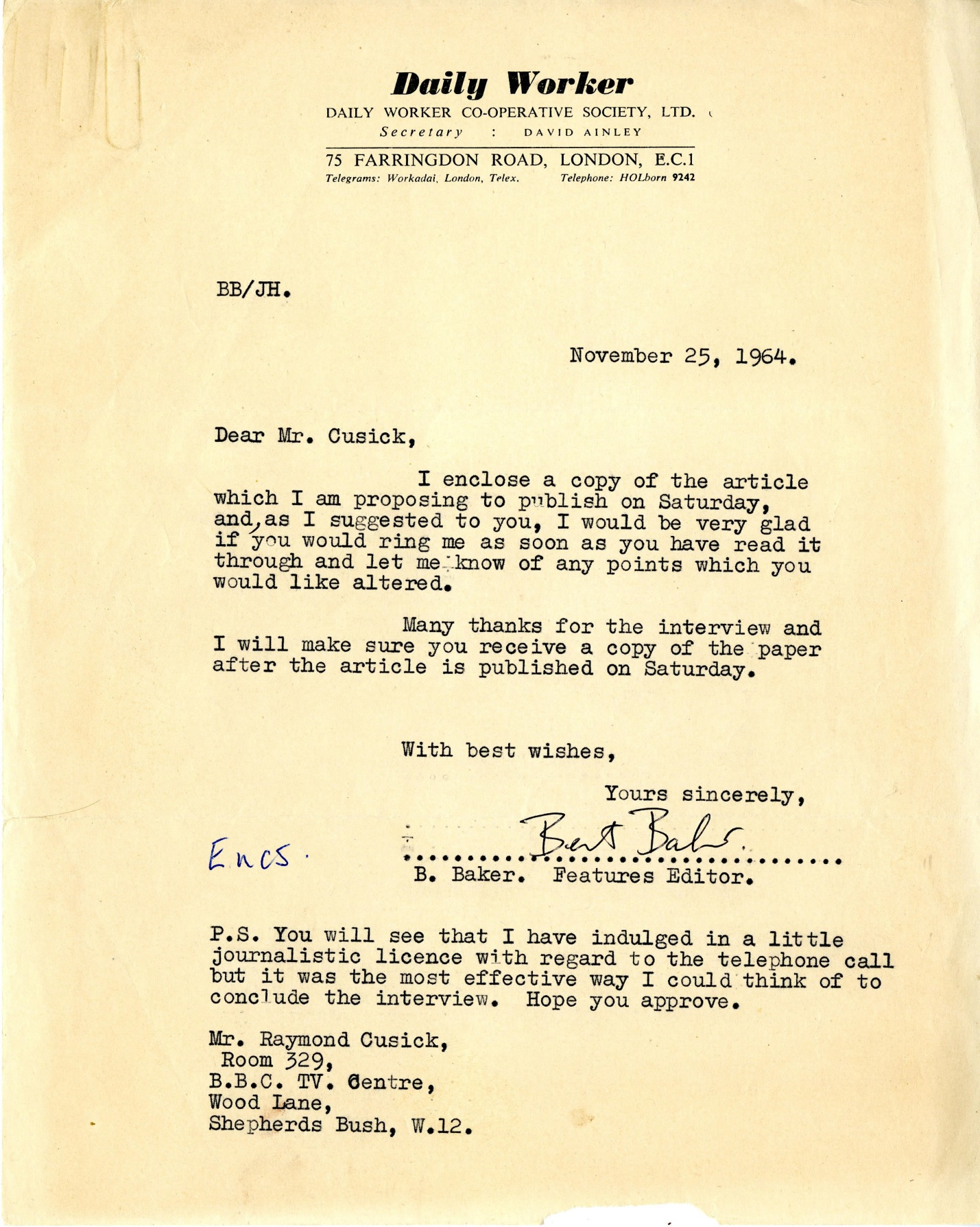 Letter dated 25 November 1964 to Raymond Cusick regarding article to appear in Daily Worker