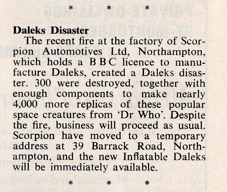 Games and Toys, May 1965. Article about the fire at the Scorpion Automotives factory