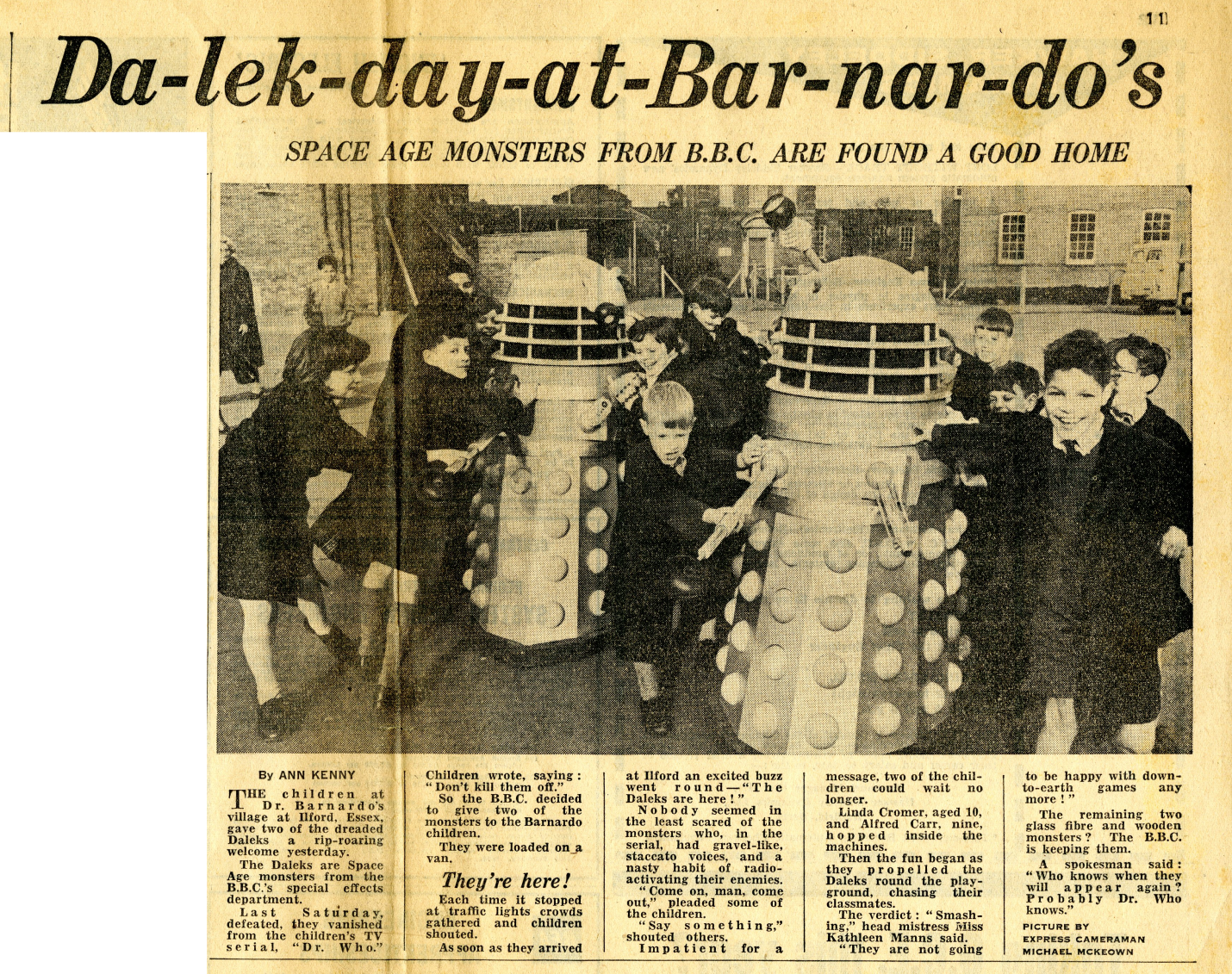 Daily Express, 5 February 1964. Article about the donation of two Daleks to the Dr. Barnardo's Home. From the Ray Cusick cuttings collection