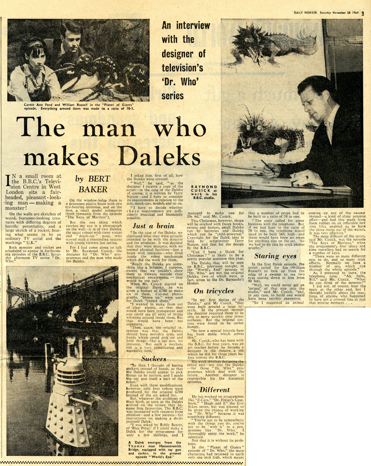 Daily Worker, 28 November 1964. Article from the Ray Cusick cuttings collection