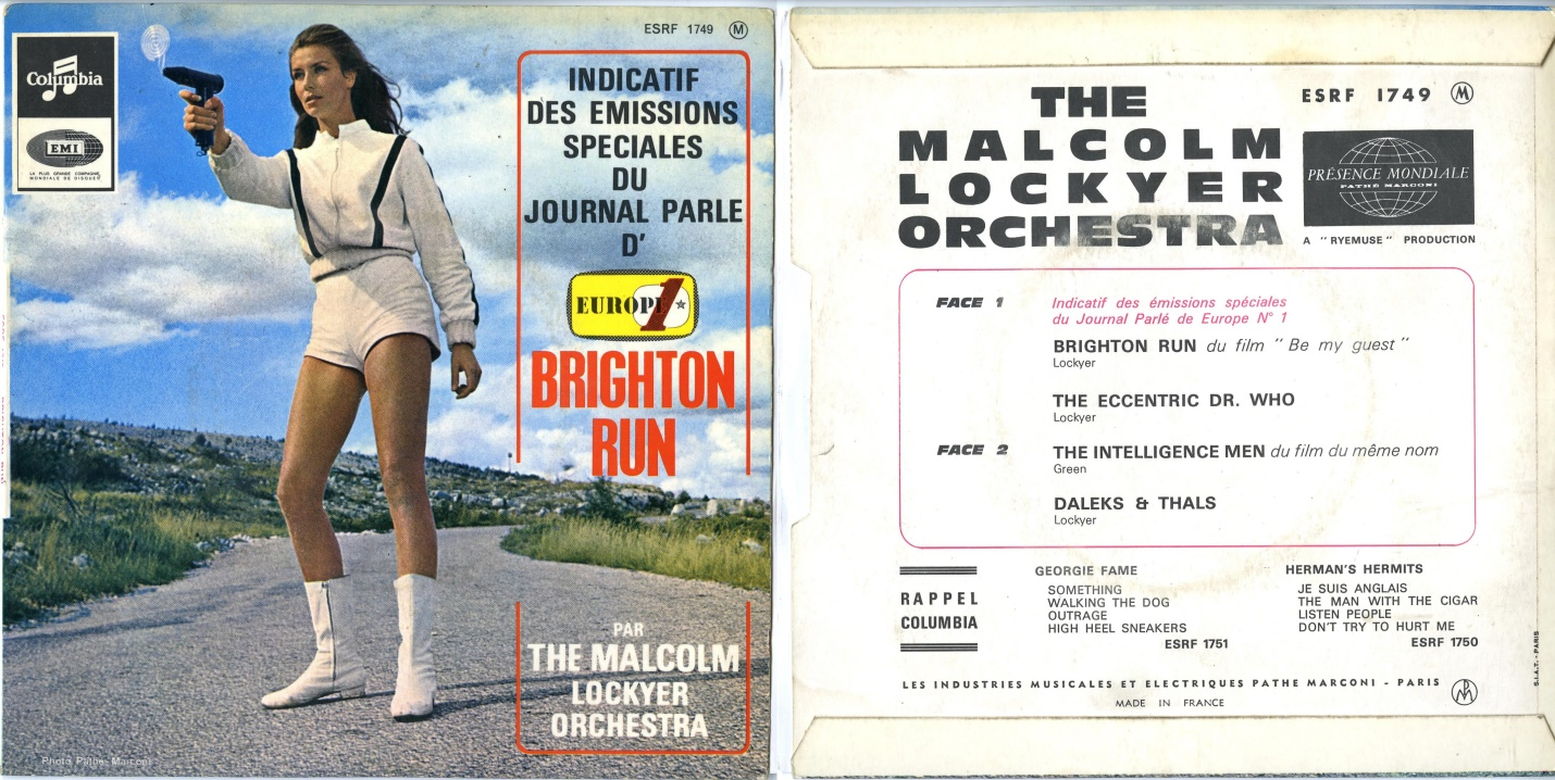 Columbia Records, EMI Records Ltd., The Malcolm Lockyer Orchestra, French Picture Sleeve EP version of The Eccentric Dr. Who (b/w Daleks and Thals) with Brighton Rock and The Intelligence Men