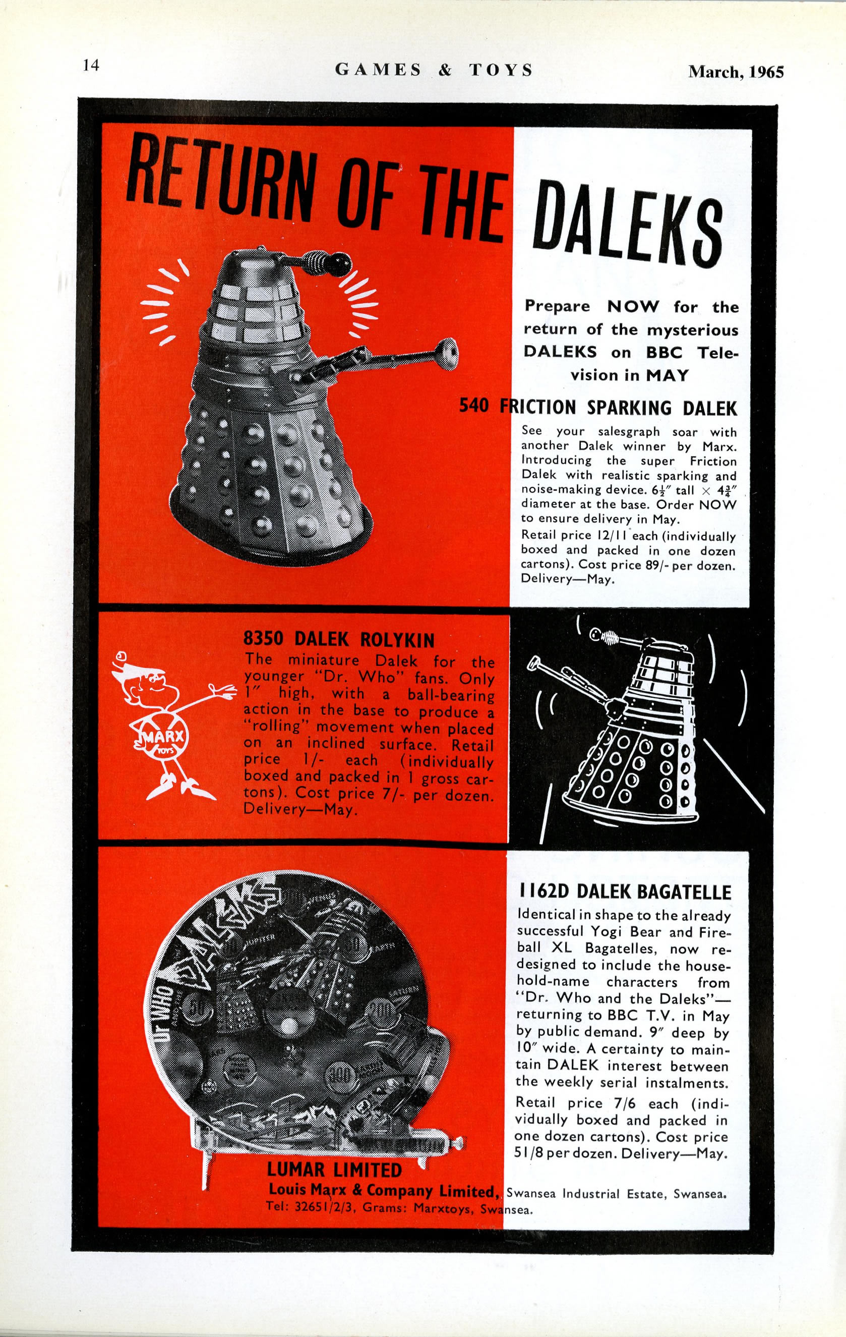 Games & Toys, March 1965, ad. for Louis Marx and Company Ltd. friction-drive Daleks, Dalek Rolykins, and Dalek bagatelles