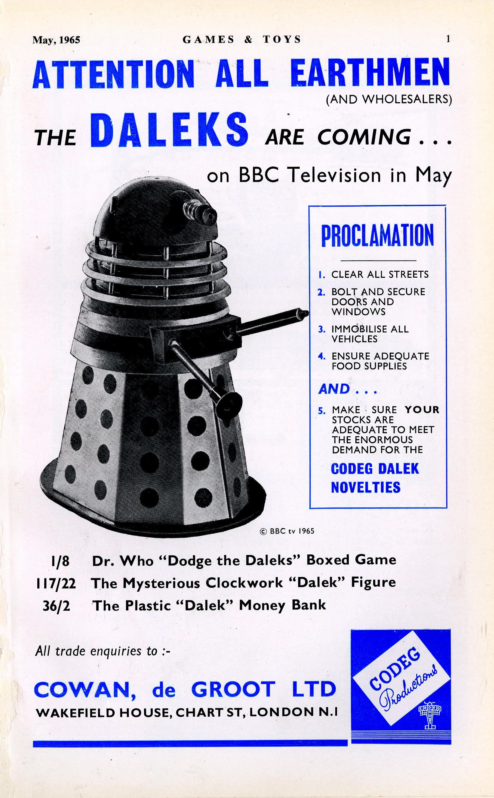Games & Toys, May 1965, ad. for Cowan, de Groot featuring the Codeg mechanical Dalek