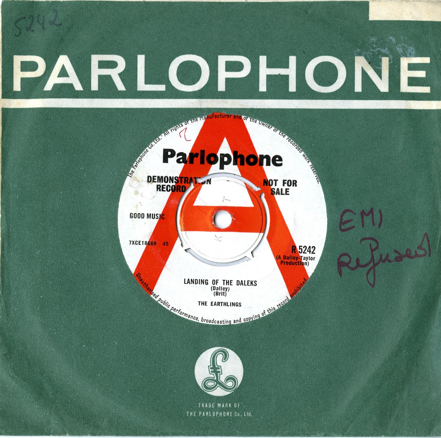The Parlophone Company Ltd., The Earthlings, The Landing of the Daleks (demonstration record)