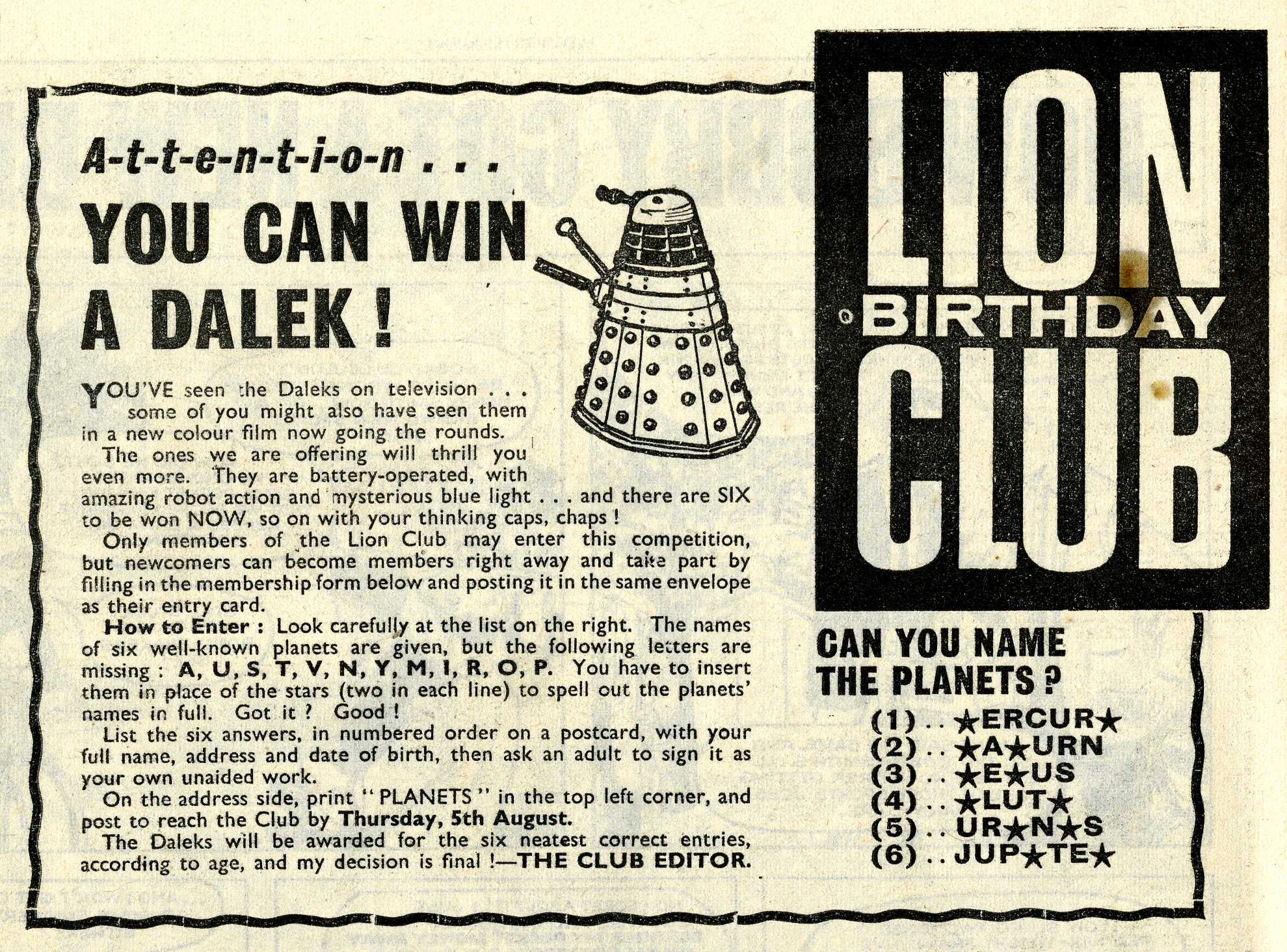 Competition in the Lion comic, 31 July 1965, to win a Louis Marx and Company Ltd. battery-operated Dalek