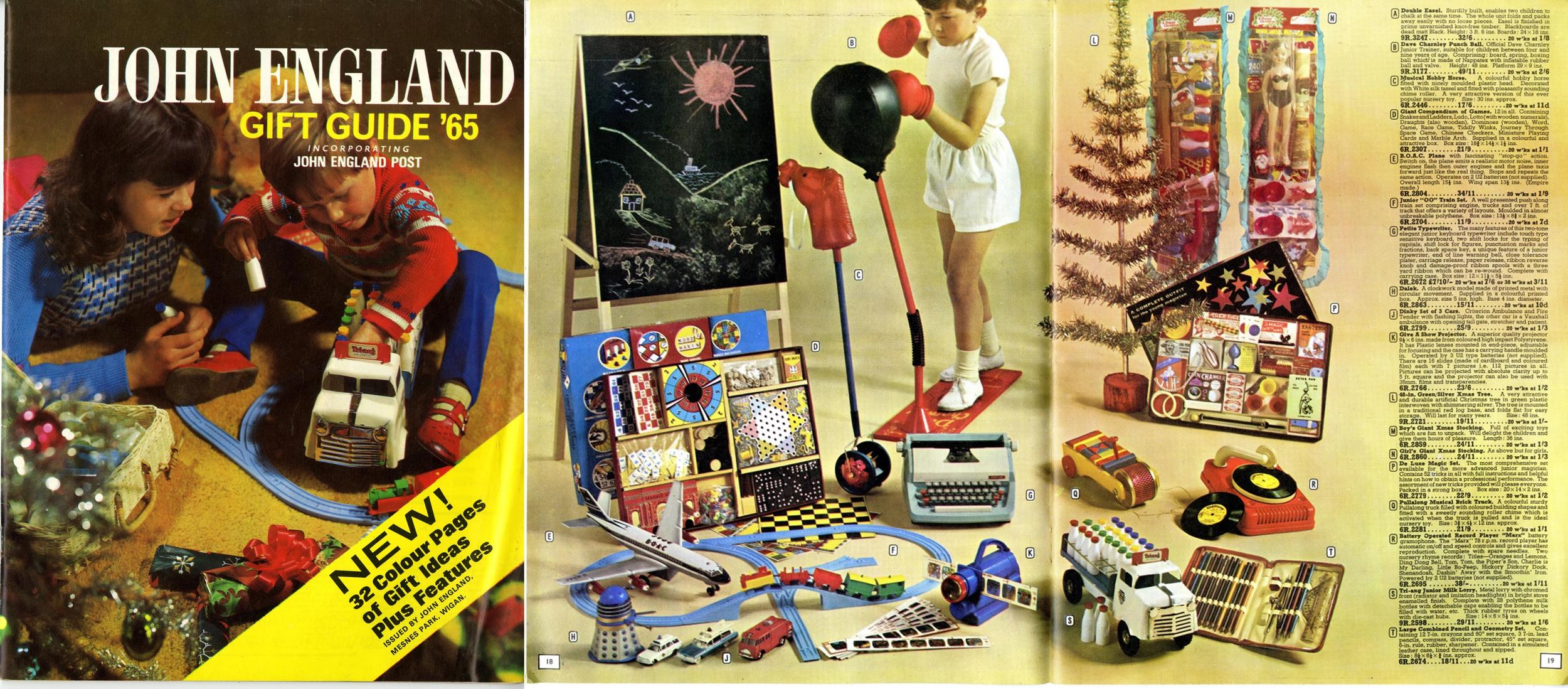 John England Gift Guide '65 showing Codeg mechanical Dalek