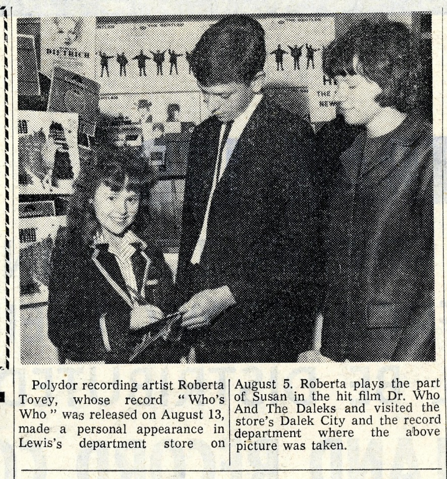 Record Retailer and Music Industry News, 26 August 1965, article following the release of Who's Who by Roberta Tovey