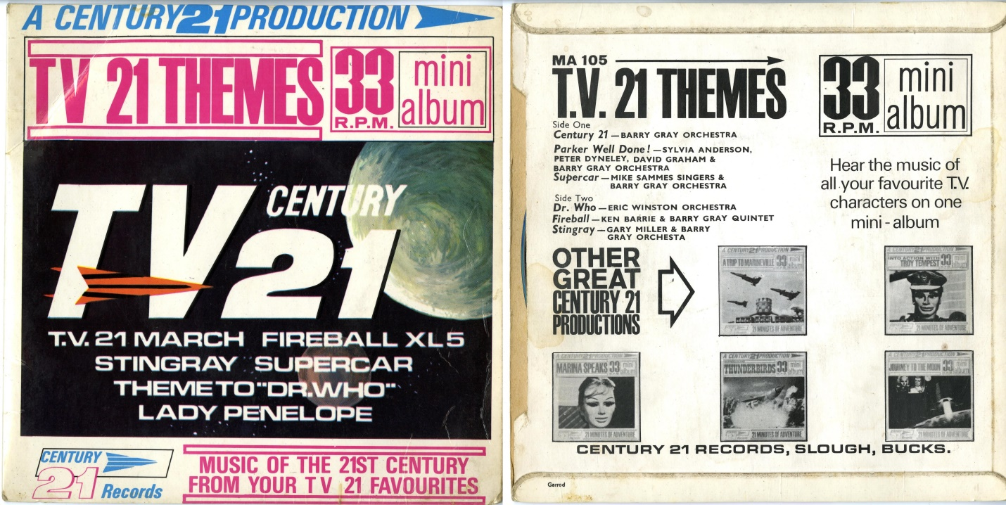 Century 21 Records, TV 21 Themes Mini-Album (includes the orchestral version of the Doctor Who theme by Eric Winstone), catalogue no. MA-105