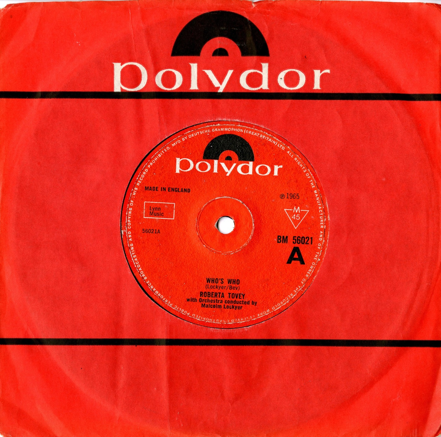 Polydor Ltd., Who's Who by Roberta Tovey with the Malcolm Lockyer Orchestra, catalogue no. BM 56021