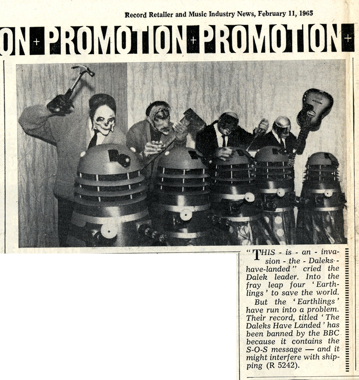 Record Retailer and Music Industry News, 11 February 1965, article coinciding with the release of The Earthlings, The Landing of the Daleks