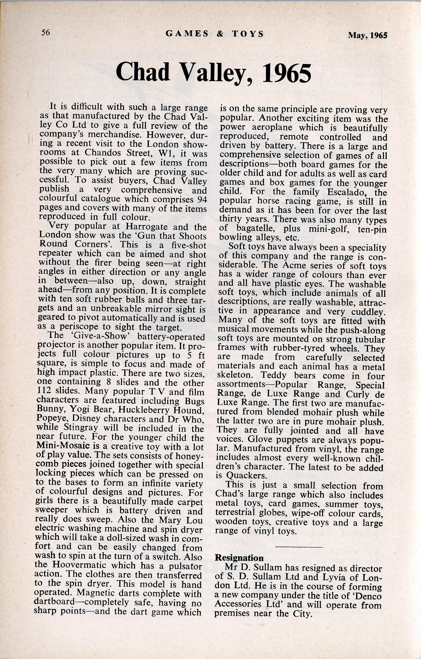 Games and Toys, May 1965, article about Chad Valley including introduction of Doctor Who Give-A-Show Projector
