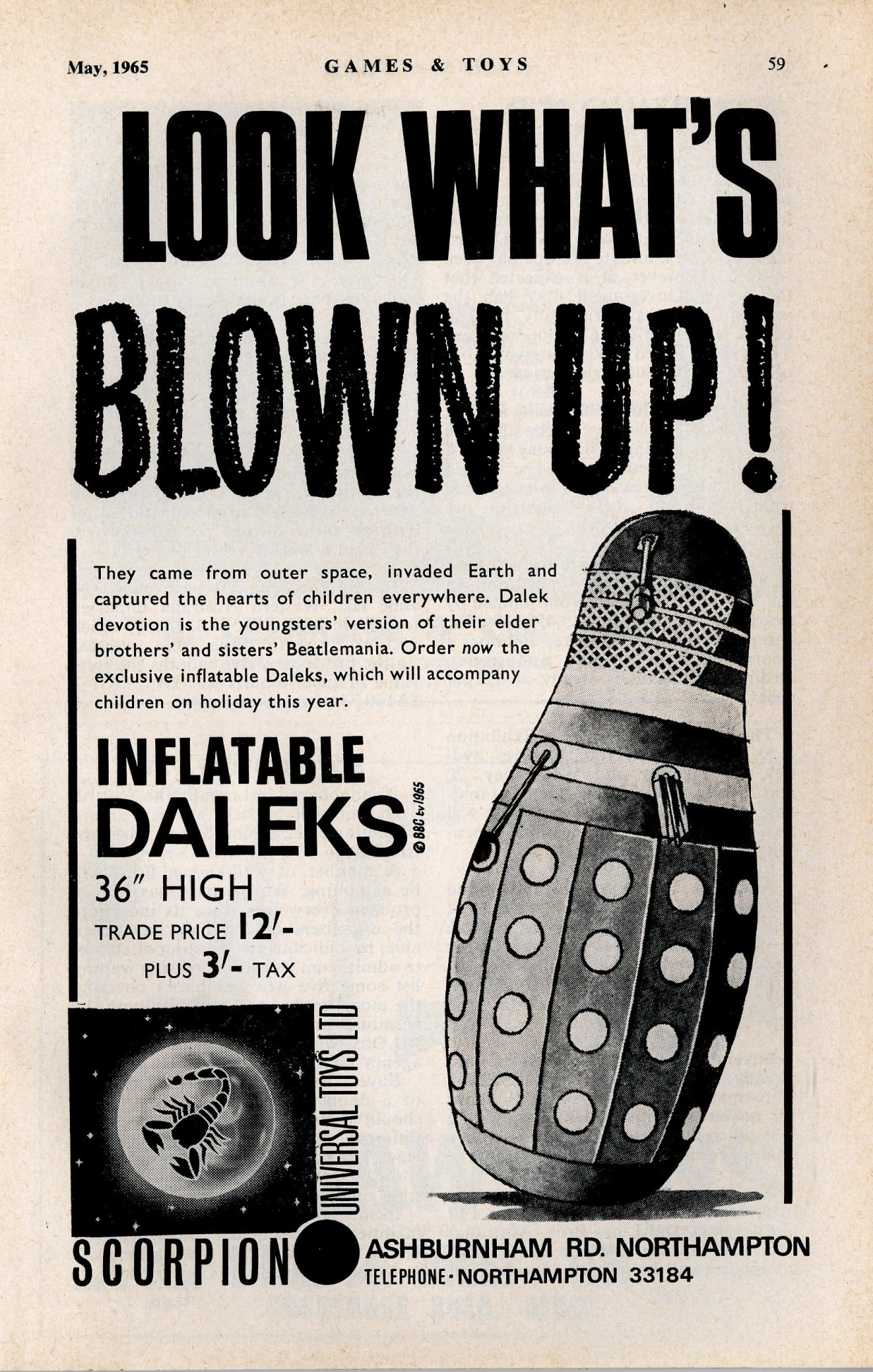 Games and Toys, May 1965, ad. for Scorpion Universal Toys Ltd. Inflatable Dalek