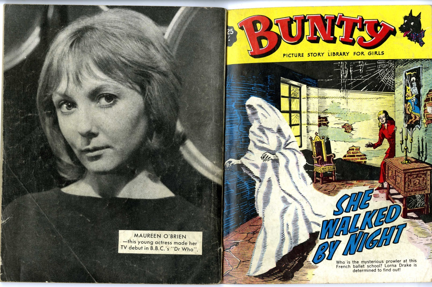 Bunty Picture Story Library for Girls, 1965 featuring back cover photo of Maureen O'Brien as Vicki