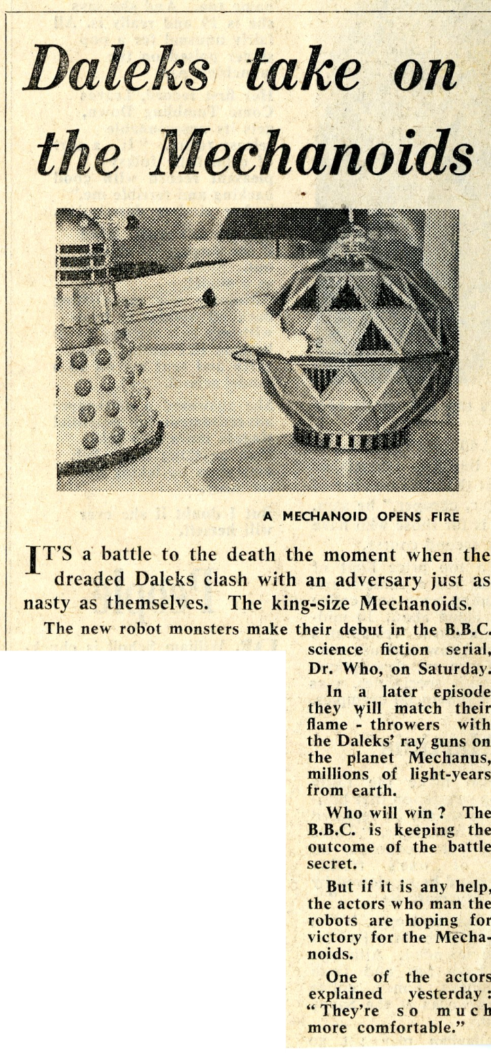 Daily Mail, April 15, 1965 (from the Raymond Cusick cutting collection)