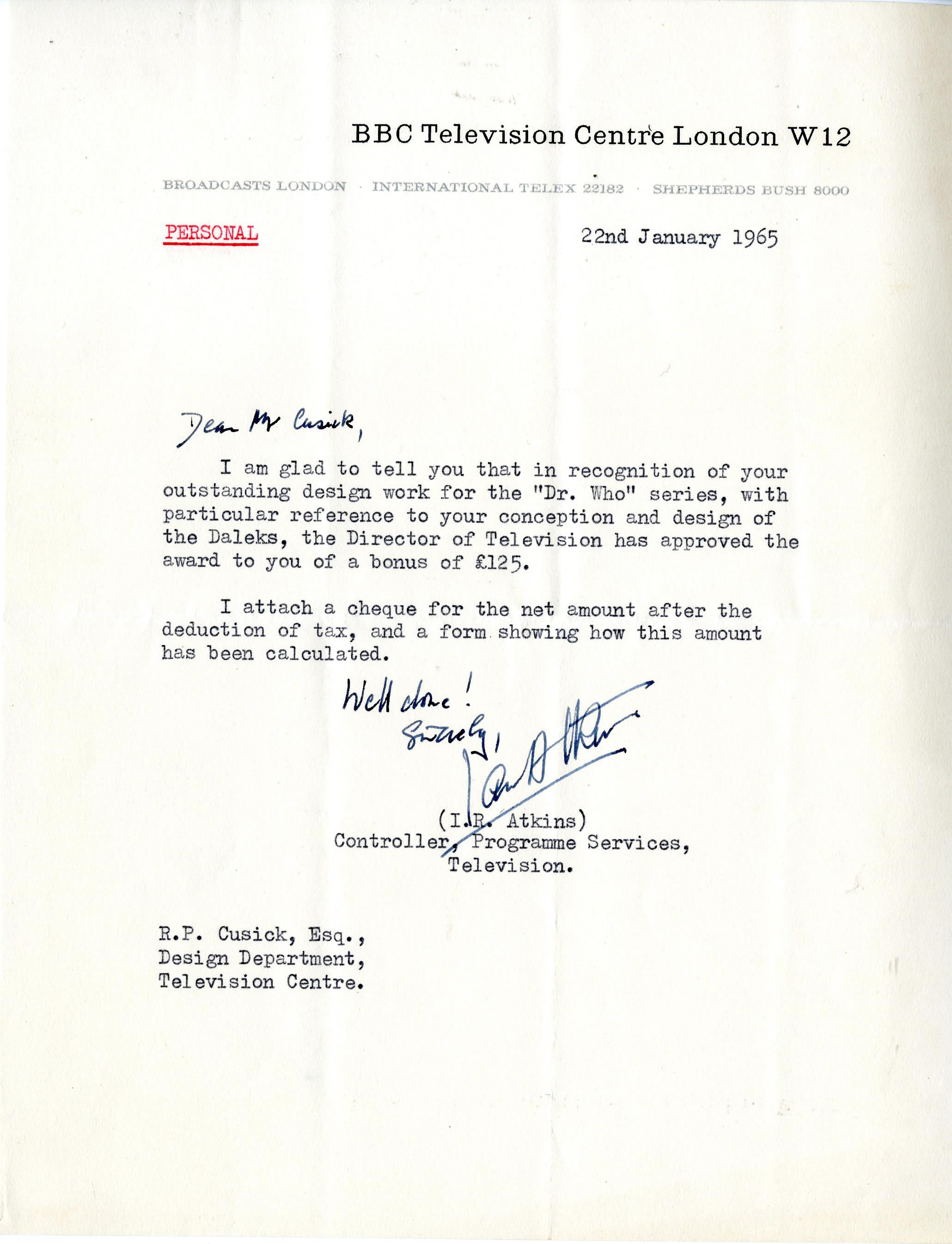 Letter to Raymond Cusick from the Controller, Programme Services, Television awarding him a bonus for his design work on Doctor Who (from the Raymond Cusick personal collection)