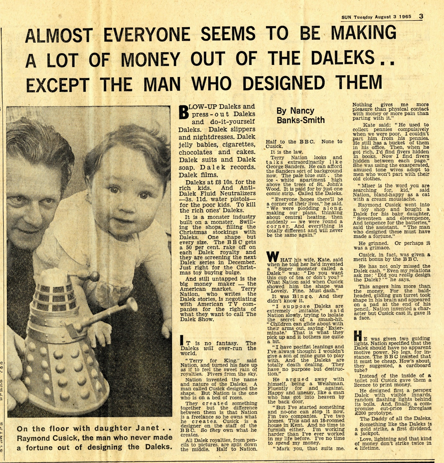 The Sun, August 3, 1965 (from the Raymond Cusick cutting collection)