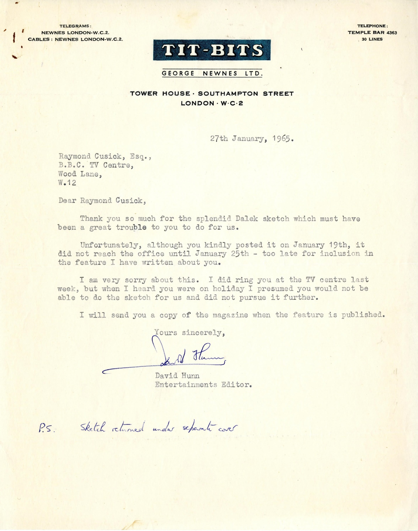 Letter from Titbits editor to Raymond Cusick regarding article to be published in the February 13, 1965 edition (from the Raymond Cusick personal collection)