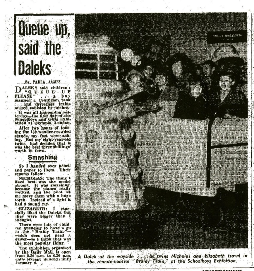 Copy of Daily Mirror, December 29, 1964 article about the Daily Mail Schoolboys and Girls Exhibition